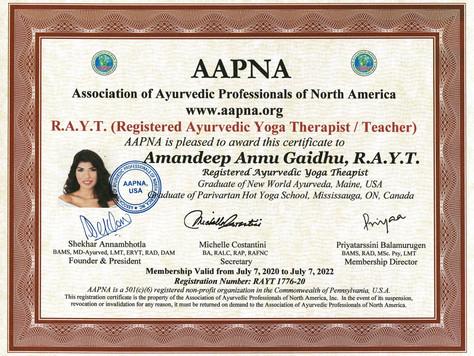 Registered Ayurvedic Yoga Therapist