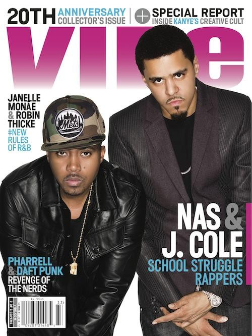 J. Cole and Nas Vibe Magazine Cover