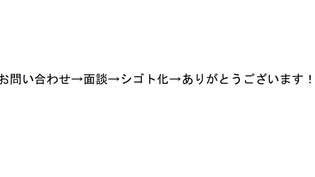 お問い合わせ→面談→シゴト化→ありがとうございます!