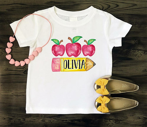 Pencil w/ apples tee