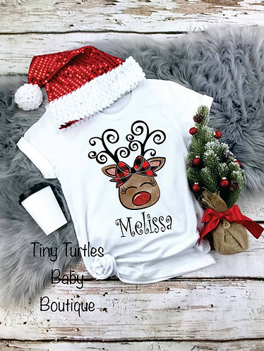 Personalized reindeer tee (girl)