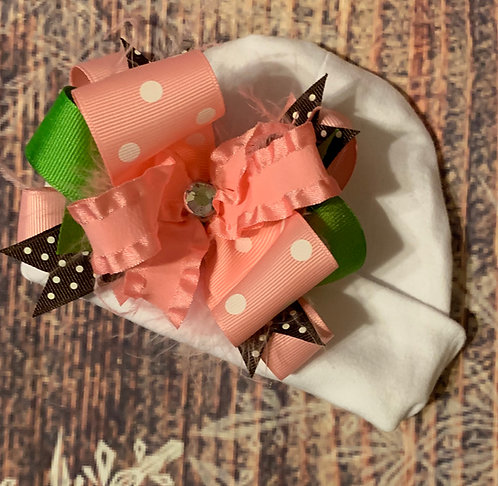 Pink/chocolate bow hat