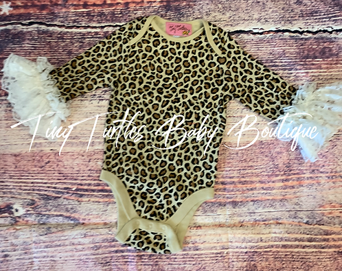Leopard & lace onesie