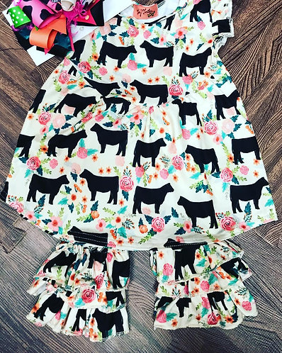 Floral Cow dress w/ shorties