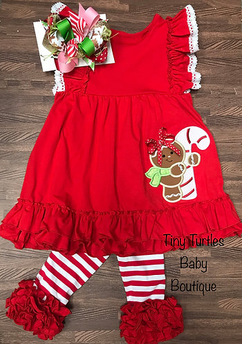 Gingy dress & ruffle pants set