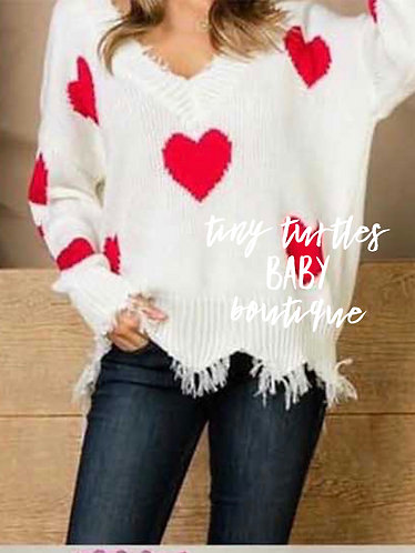 I Love you distressed sweater (Mommy & Me)