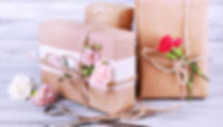 Beautiful gifts with flowers and decorat