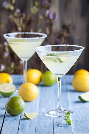 Lime and lemon martini with vodka in the