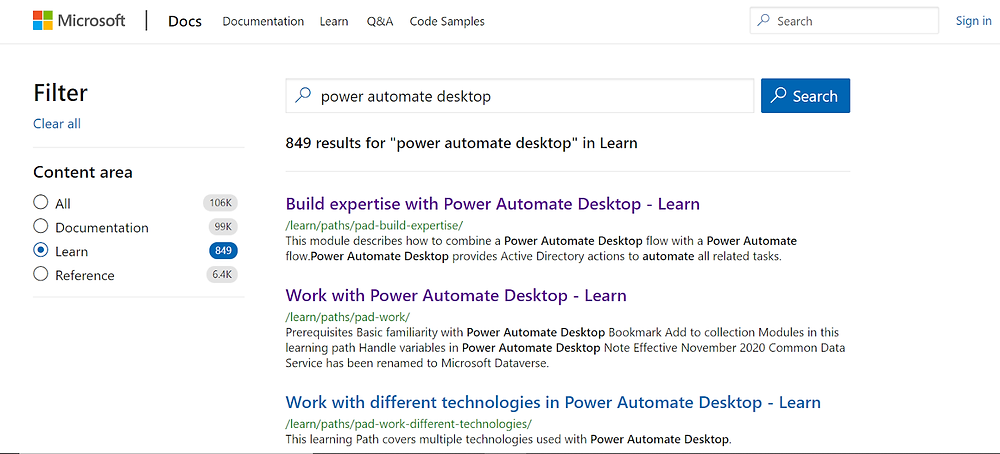 """A search for """"Power Automate Desktop"""" on Microsoft Learn turns up 849 results"""