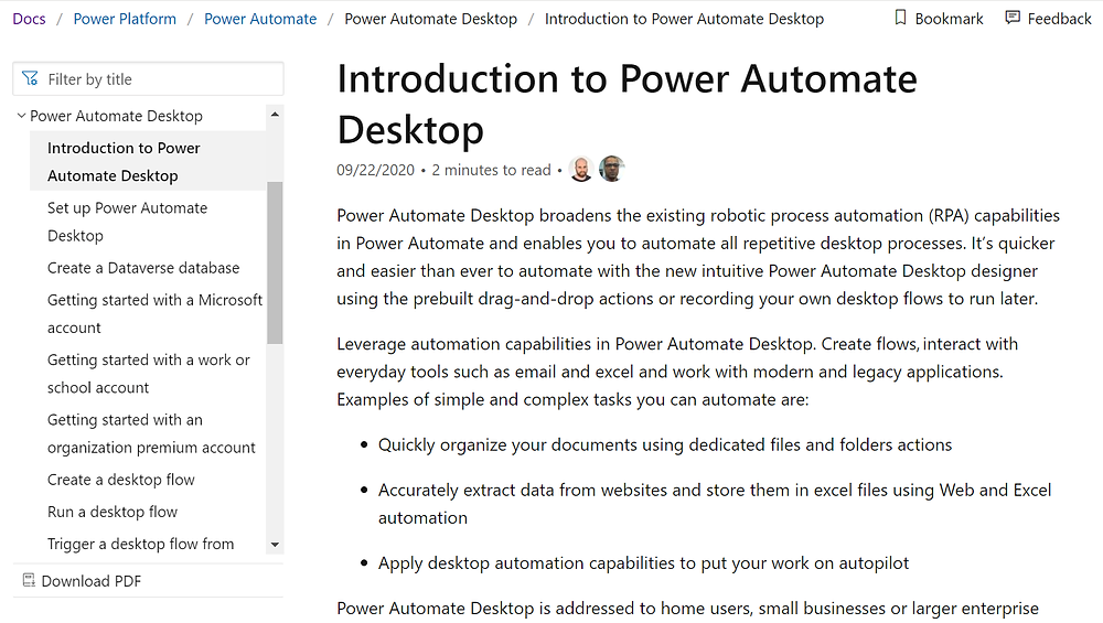 Screenshot of Introduction to Power Automate Desktop in Microsoft Docs