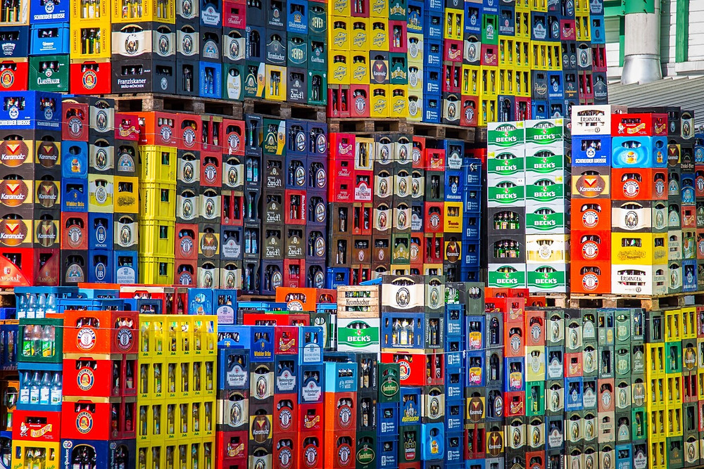 Crates and crates of beverages stacked together - overproduction?