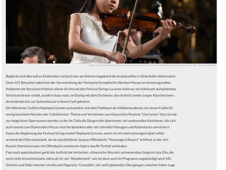 Violinist Leia Zhu Received Another Fantastic Review by Osterhofener Anzeiger