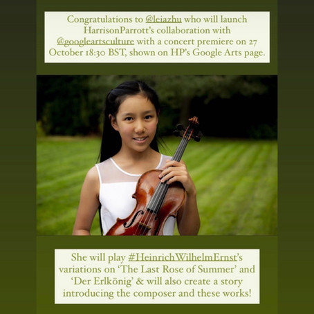 Violinist Leia Zhu is Honoured to Launch HarrisonParrott's Collaboration with Google Arts & Culture