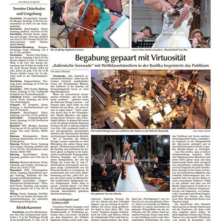 Violinist Leia Zhu's Performance Received a Stellar Review From Osterhofener Anzeiger