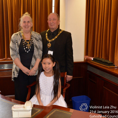Violinist Leia Zhu Performs for the Mayor and Mayoress of Gateshead