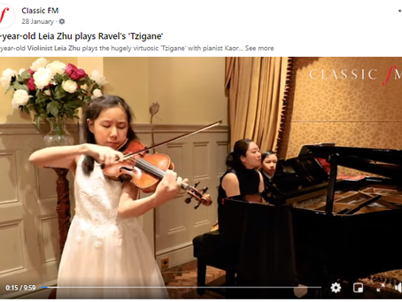 Leia Zhu's Performance of Ravel Tzigane Being Featured by ClassicFM