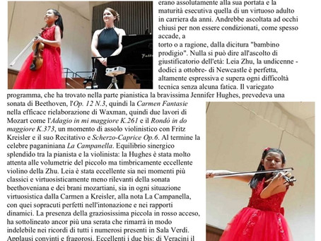 Wonderful Review for Violinist Leia Zhu's Recital in Milan