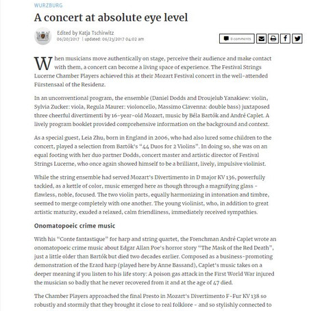 Violinist Leia Zhu Received Stella Review from WÜRZBURG Main Post