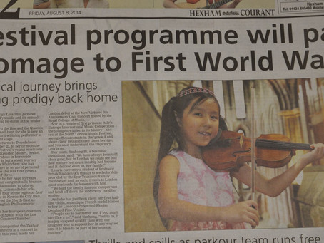 Leia is Being Featured by Hexham Courant Newspaper Ahead of the Recital in Hexam Abbey
