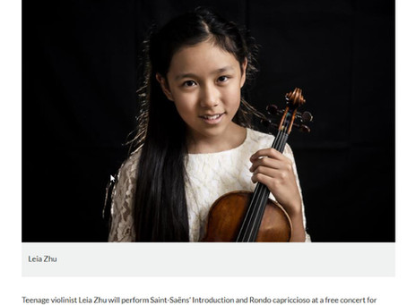 Leia Zhu, 14, will perform with the London Symphony Orchestra under the baton of Sir Simon Rattle