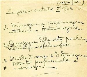 Handschriftliche Notitzen von Roberto Assagioli