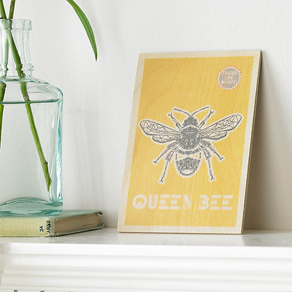 Queen Bee Wooden Postcard