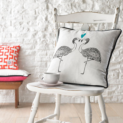Flamingo Screen Printed Square Cushion