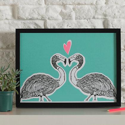 Flamingos In Love Screen Print Teal