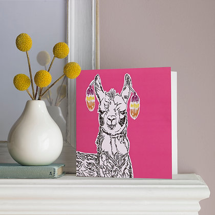 Larry the Llama Greetings Card in Pink