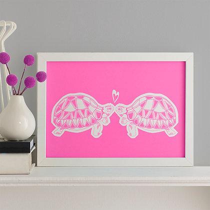 A4 Tortoises In Love Screen Printed Wall Art