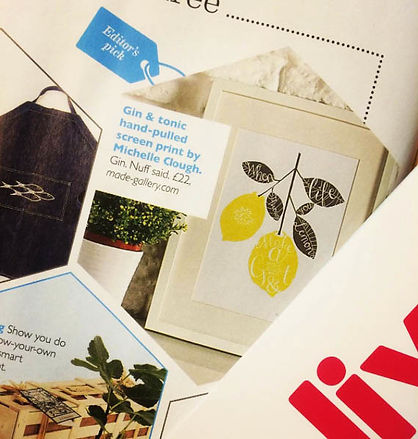 'When Life Throws You Lemons, Make A GnT' screen printed wall art featured in the Editor's Pick of Olive Magazine 2015