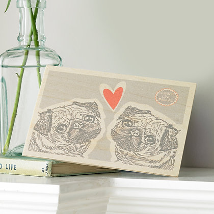 Pug Love Wooden Postcard