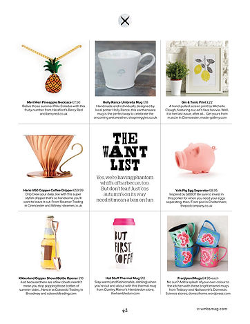 'When Life Throws You Lemons, Make A GnT' screen printed wall art featured in the 'Gift Guide' of Cotswold Crumbs Magazine 2015.