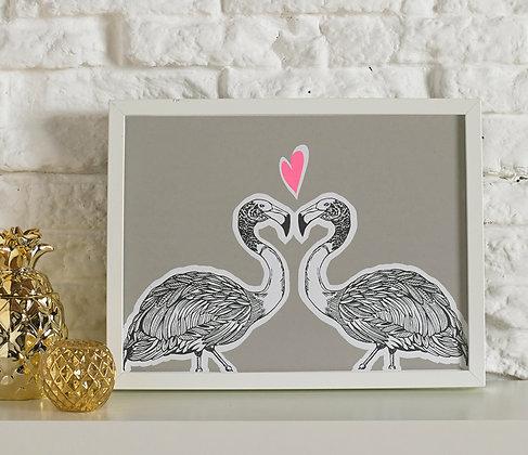 Flamingos In Love Grey Screen Print