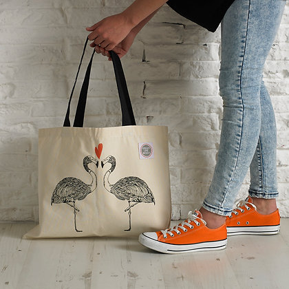 Flamingos In Love Screen Printed Large Tote Bag