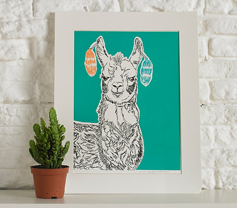 Larry The Llama Screen Print