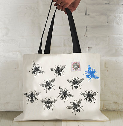 Busy Bee Screen Printed Large Tote Bag