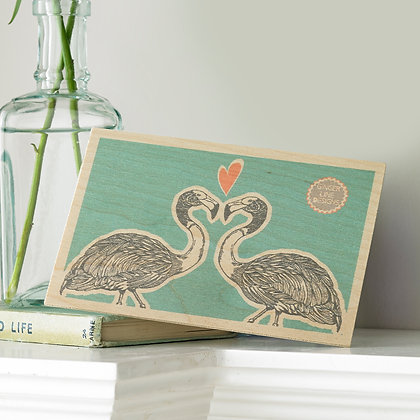 Flamingos In Love Wooden postcard