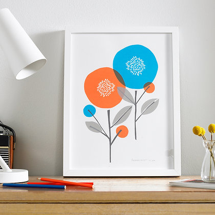 A3 Scandi Floral Screen Printed Wall Art