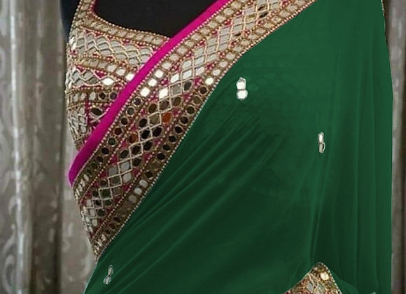 Mirror work saree