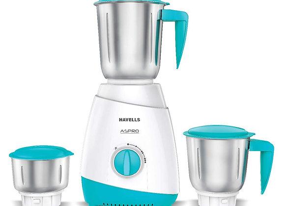 Havells ASPRO 500 Watt Mixer Grinder with 3 Stainless Steel Jar