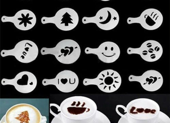 16Pcs Coffee Stencil