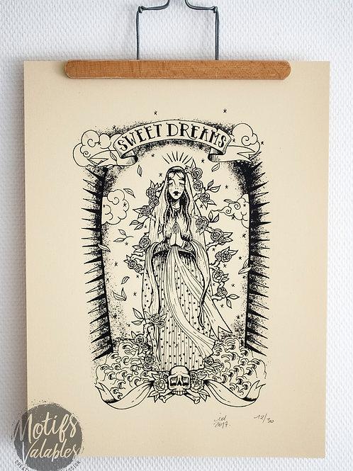Sérigraphie vierge madone «Sweet dreams» papier d'Art blanc tatouage