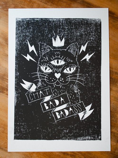 Linogravure «Chat bada bad ass» papier d'Art