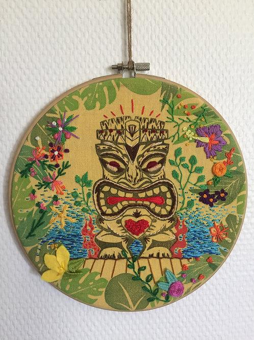 Tiki Jungle imprimé et brodé main