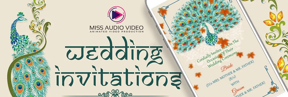 Peacock Theme Based Vertical Video Wedding Invitation - Video Invitation