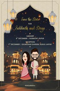 Caricature Engagement Invitations
