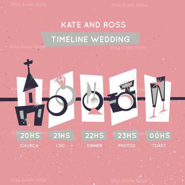 Pink Timeline Wedding In Retro Style
