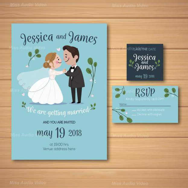 wedding-invitation With Cute Couple