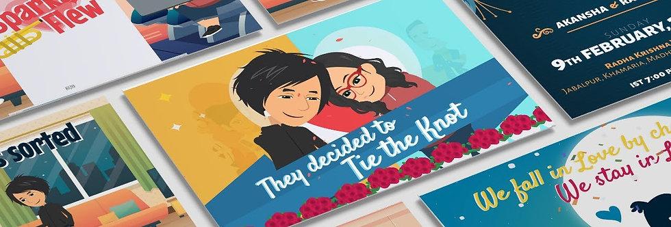 Enagagement Ceremony Digital Cartoon Wedding Invitation | Cartoon Animated Video